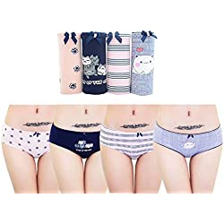Searchself Women's Cotton Lace Trim Bow Hipster Bikini Panties (Pack of 5) (cat)