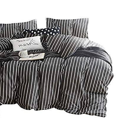 Wake In Cloud - Gray Striped Comforter Set, 100% Cotton Fabric with Soft Microfiber Fill Bedding, White Vertical Stripes Pattern Printed on Dark Grey (3pcs, Queen Size) - 【Design】White vertical stripes modern pattern print on dark gray grey. Simple modern gift for teens, boys, girls, men or women. 【Set】1 comforter 90x90 inches (queen size), 2 pillow cases 20x26 inches. 【Material】100% cotton outer fabric with ultra soft microfiber inner fill. Durable, breathable, hypoallergenic, fade-resistant and machine washable. - comforter-sets, bedroom-sheets-comforters, bedroom - 51U52I08IEL. SS400  -