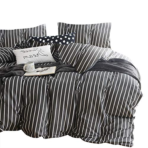 Wake In Cloud - Gray Striped Comforter Set, 100% Cotton Fabric with Soft Microfiber Fill Bedding, White Vertical Stripes Pattern Printed on Dark Grey (3pcs, Queen Size) (Set Comforter Grey Striped)