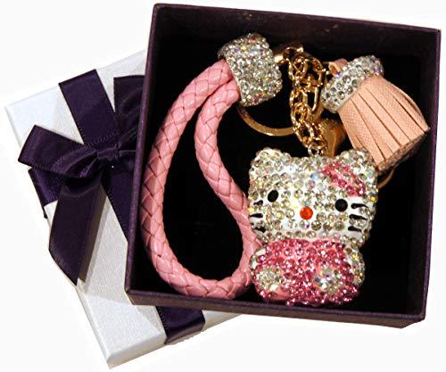 3D Hello Kitty Pink Rhinestones Keychain Holder Weave Faux Leather Strap Hanger 092 ()