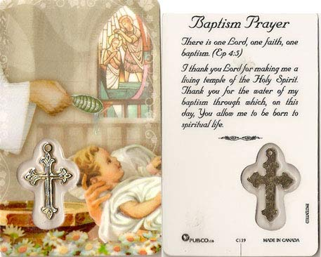 Premium assorted Holy Cards with Medal | Catholic Saints and Prayers with medals (Baptism Prayer)