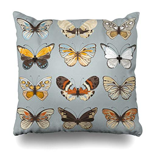 (YeaSHARK Throw Pillow Covers Covered Beige White Retro Butterflies Nature Butterfly Vintage Blue Beautifully Claret Summer Zippered Design Square 18