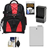 Precision Design Multi-Use Laptop/Tablet Digital SLR Camera Backpack Case (Black/Red) with LP-E8 Battery & Charger + Accessory Kit for Canon Rebel T3i & T4i