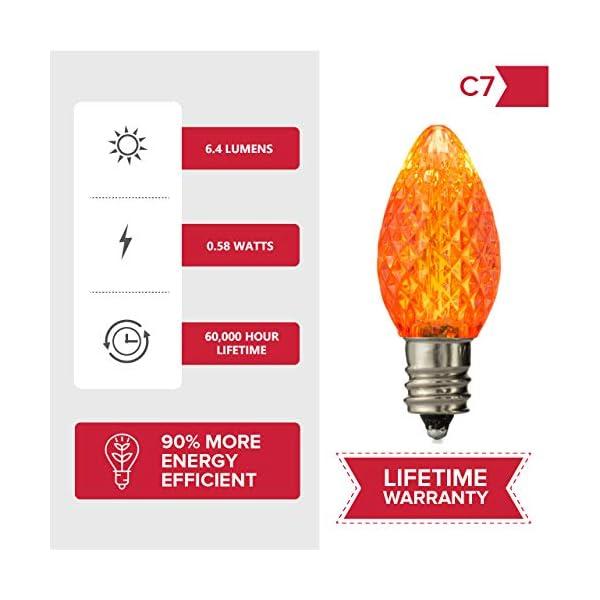 UL Listed Set of 25 C7 Multi LED Bulbs,2 SMD LEDs in Each Dimmable Light Bulb