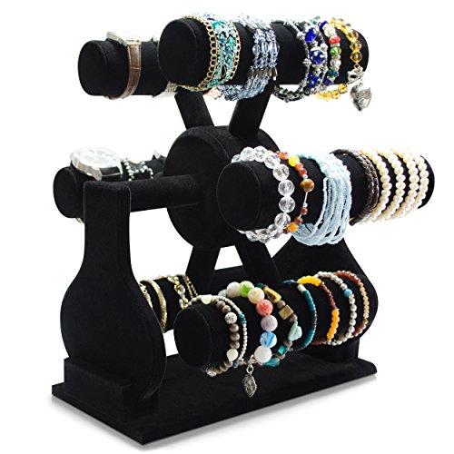 VENKON - 6 Rollen Drehbarer Samt Uhrenständer Armbandhalter Schmuck Organizer für Uhren Halsketten, Handschmuck etc. - schwarz - 29 x 35 x 31 cm