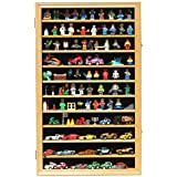 Hot Wheels Matchbox 1/64 Scale Diecast Display Case Cabinet Wall Rack w/ with Lockable Door (Oak Finish)