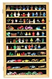 Hot Wheels Matchbox 1/64 scale Diecast Display Case Cabinet Wall Rack w/with Lockable Door (Oak Finish)