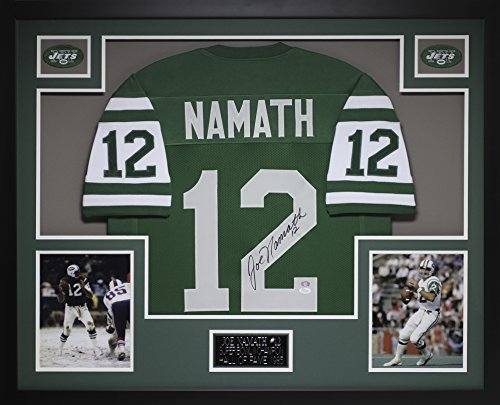 Joe Namath Autographed Green Jets Jersey - Beautifully Matted and Framed - Hand Signed By Joe Namath and Certified Authentic by JSA COA - Includes Certificate of Authenticity
