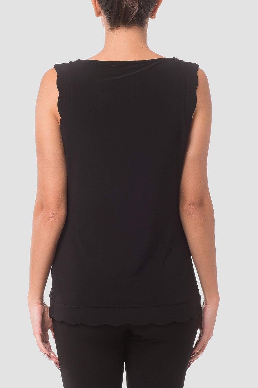 Joseph Ribkoff Black Silky Knit Scallop Hem Top Style 181128