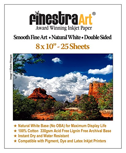 8x10 330gsm Smooth Fine Art Museum Natural White Double Sided 25 Sheets