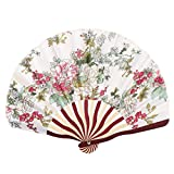 uxcell Bamboo Frame Flower Pattern Lady Dance Wedding Party Folding Hand Fan White