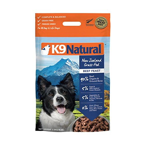 K9 Natural Freeze Dried Dog Food Or Topper By Perfect Grain Free, Healthy, Hypoallergenic Limited Ingredients Booster For All Dog Types - Raw, Freeze Dried Mixer - Beef 8lb Pack