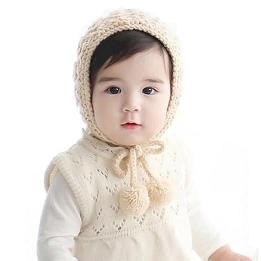 Verala Baby Toddler Knitted Crochet Pilot Cap Bonnet Winter Hat (Beige) 41b09cbdefa