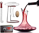 Wine Decanter Glass Carafe Set - Exquisite 100% Hand Blown Lead-Free Aerator Kit with Wood stopper Cleaning Brush & Drying Stand in Deluxe Box| Durable Crystal Glass Perfect for Aerating / Decanting