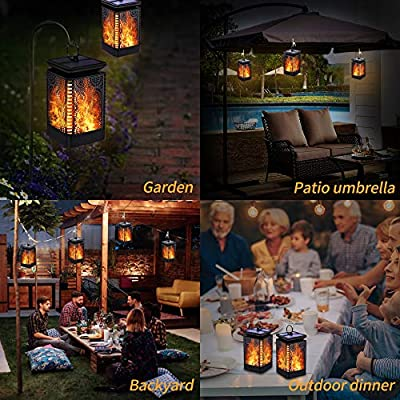 Solar Lantern Lights Dancing Flame Waterproof Outdoor Hanging Lantern Solar Powered Umbrella LED Night Lights Dusk to Dawn Auto On/Off Landscape Decor for Garden Patio Deck Yard Camping Party