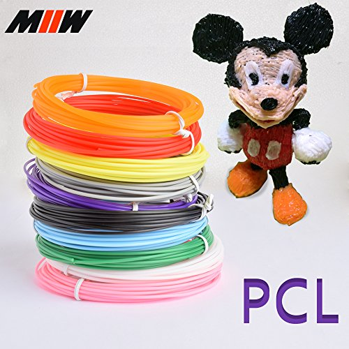 MIIW 3D Pen Filament 1.75mm PCL Filament Refills-164 Linear Feet, No Mess,Non-,Toxic for Low Temperature 3D Printer Pen Only. 10 Different Colors, 16.4 Feet Each Color Gift and Toy for Boy&Girl by MIIW