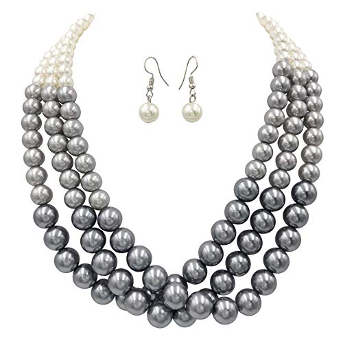 (Gypsy Jewels 3 Row Layered Imitation Pearl Beaded Necklace and Earrings Set (Grey to Ivory Ombre))