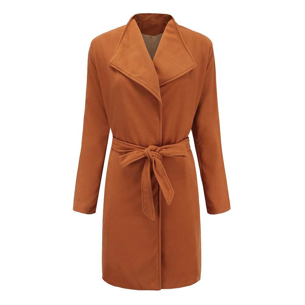 Pervobs Women Woolen Parka Trench Coat Jacket Solid Pocket Belt Overcoat Outwear