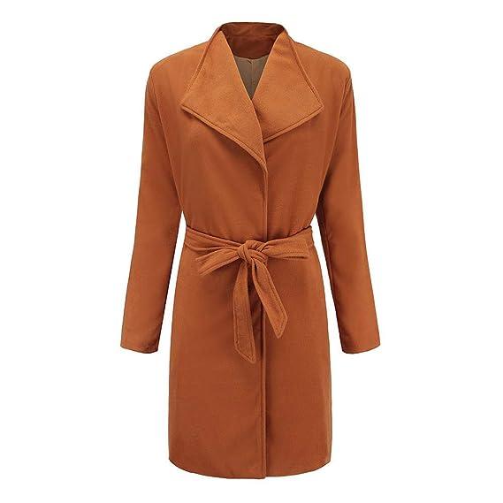 Linlink Mujeres Invierno cálido de Lana Trench Parka Chaqueta cinturón Abrigo Outwear: Amazon.es: Ropa y accesorios