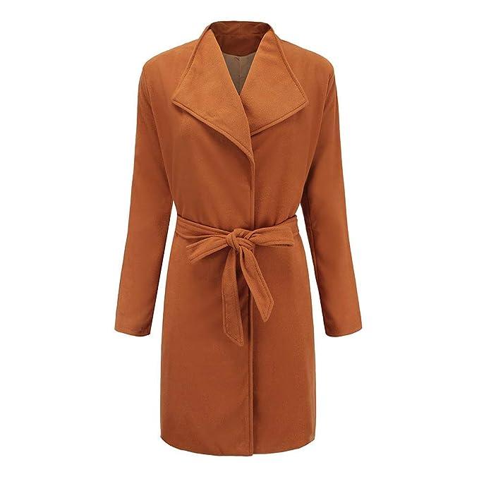 Linlink Mujeres Invierno cálido de Lana Trench Parka Chaqueta cinturón Abrigo Outwear