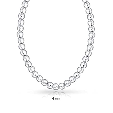 b15564576 Classic 6mm High Polished Ball Round Bead Strand 925 Sterling Silver  Necklace For Women 16 Inch
