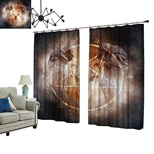 2 Panels Curtain with Hook Pentagram in Flames Black Magic Ceremony Ritual Lucifer Demonic Skull Gray Orange Can Block Sunlight,W108 xL84.3