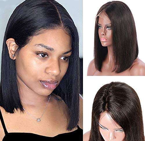 Natrual Black Lace Front Bob Wigs 13x6 Deep Part 180% Density Brazilian Human Hair Pre Plucked Natural Hairline Bleached Knots 10 Inch Straight Short Bob Wigs #1B for Women (Could Be Restyle) ()