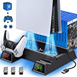 Kydlan PS5 Stand with Cooling Fan for PS5 Console, PS5 Vertical Stand with Cooling Fan and Controller Charger, Dual Controller Charging Station with 3 USB Hub &13 Game Storage PS5 Accessories