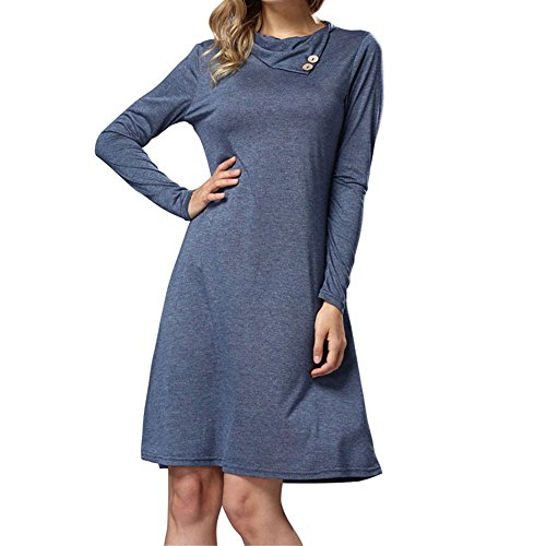 SEBOWEL Women's Button Neck Casual Loose Swing Basic Cotton Tunic Dresses
