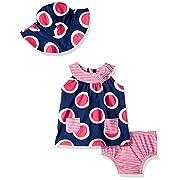 Gerber Baby Girls 3 Piece Dress Set, Circles, 12 Months