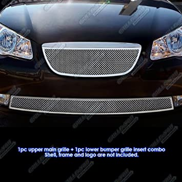 APS Compatible with 07-10 Hyundai Elantra Sedan Stainless Steel Mesh Grille Grill Combo Insert