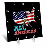 3dRose Alexis Design - America - American USA map, flag and a text All American on black background - 6x6 Desk Clock (dc_281215_1)