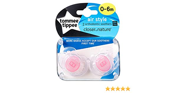 Tommee Tippee Closer To Nature: 2 x Chupete 0-6m (Rosado)