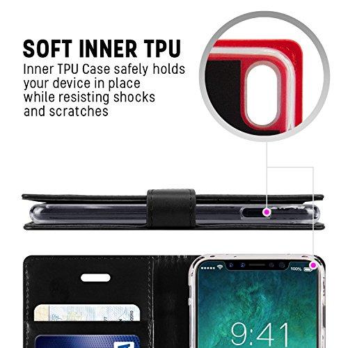 iPhone X fundas, [Drop Protection] GOOSPERY® Blue Moon Diary Caja del teléfono de la imitación de cuero tirón de la carpeta Case fundas para Apple iPhone X - Hot Pink Black