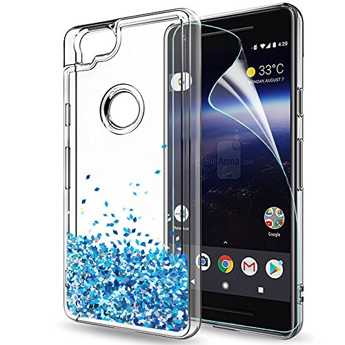 Pixel 2 Case,Google Pixel 2 Case with HD Screen Protector for Girls Women,LeYi Cute Bling Shiny Moving Quicksand Liquid Glitter TPU Protection Phone Case for Google Pixel 2 (2017) ZX TS Blue