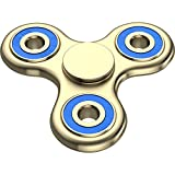 The Anti-Anxiety 360 Spinner Helps Focusing Fidget Toy [3D Figit] Tri-Spinner EDC Focus Toy for Kids & Adults - Best Stress Reducer Relieves ADHD Anxiety Boredom Ceramic Cube Bearing Gold & Blue