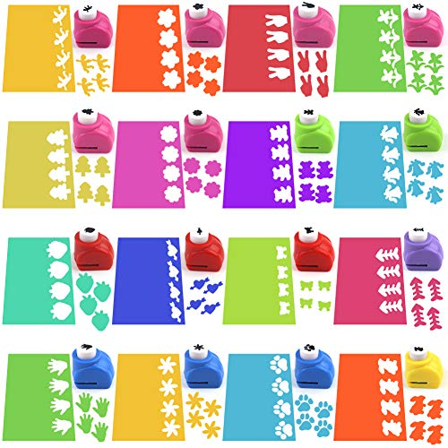 LOVEINUSA Punch Craft Set, 16 Pack Mini Craft Punch Scrapbooking Punch Whole Puncher Shapes Scrapbooking Supplies Shapes Hole Punch Great for Crafting Fun Projects