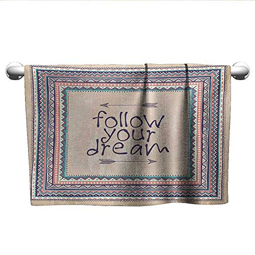 - Tribal,Best Bath Towels Inspirational Quote Follow Your Dream and Arrows Aztec Framed Graphic Art Print Travel Towel Quick Dry Tan Coral Blue W 10