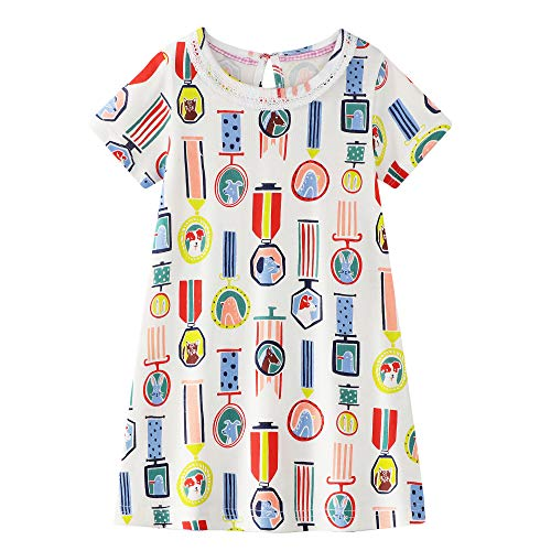 Baby Girls Causal Dress Animal Printed Cotton Top Summer Clothes 3t -