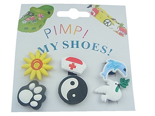 6x PIN CLIPS STICKER FÜR CLOGS CROCS PIMP MY SHOES ,,W,,