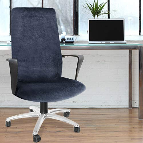 CAVEEN Computer Office Chair Cover Stretch Velvet Fabric Rotating Chair Slipcovers Removable Washable Anti-dust Chair Seat Covers Furniture Protector Covers Dark Blue Large