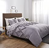 Felicite Home 3 Piece Printed Reversible Ruth Ruffled Comforter Set, Fade Resistant, Super Soft,, All Season Decorative Quilt,King, Grey