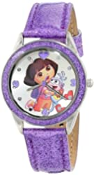 Nickelodeon Kids' DOR5004 Dora the Explorer Silver-Tone and Purple Glitter Watch