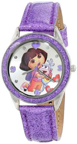 Nickelodeon Kids' DOR5004 Dora the Explorer Silver-Tone and Purple Glitter Watch Polyurethane Round Watch