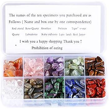 YIEASDA Crystal Quartz,10-Stone Mix:Red Crystal,Rose Quartz,Amethyst,Prehnite,Tiger's Eye, Quartz,Labradorite,Ruby in Zoisite,Lapis Lazuli,Red Jasper,Natural Tumbled Stones for Cabbing,0.5lb