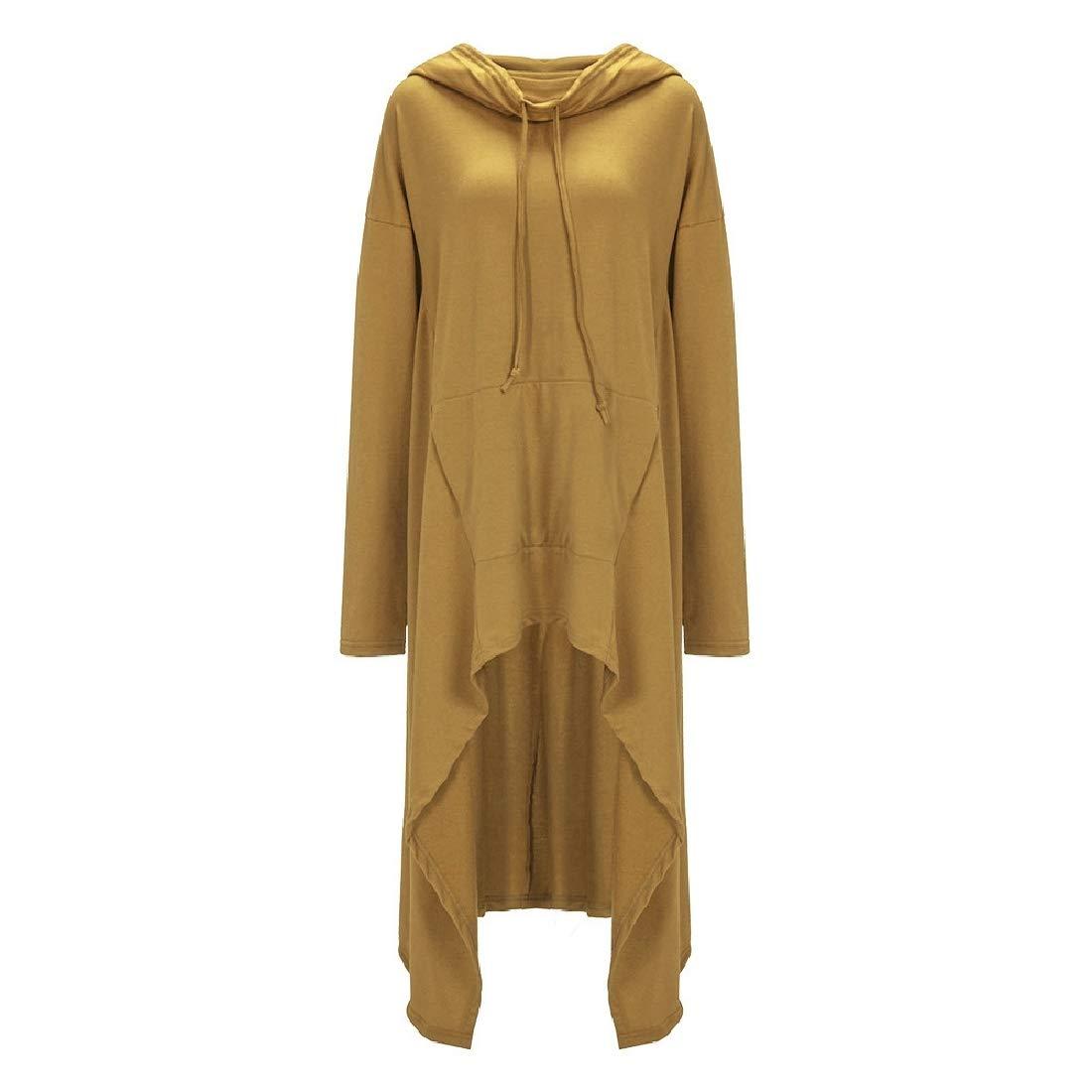 YYG Womens Solid Irregular Hem Casual Plus Size Pullover Hoodies Dress Top