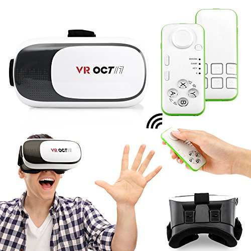 Oct17 VR 2.0 2nd Gen Virtual Reality 3D Glasses Goggle Headset with Bluetooth control remote For IOS Android Iphone 6 plus Samsung Galaxy S6 Edge+