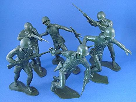 Marx 6 Inch Toy Soldiers WWII US Army Infantry Figures 6 Piece RECAST Set  from Original Molds Plastic Toy Soldiers