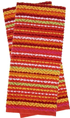 Red Chevron Pattern - Mainstay Kitchen Towel 2-Pack, Soleil Red/Chevron Pattern