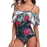 Conjunto de ropa de playa con traje de baño con estampado push-up con estampado push-up con hombros descubiertos y volante de Quelife para mujer
